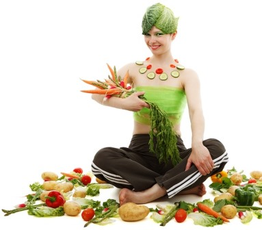 Woman surrounded with veges